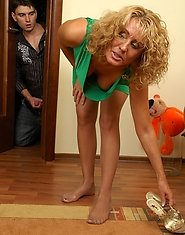 Curly blonde mature in barely visible pantyhose getting impaled on a cock