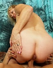 Dirty old lady fucks her younger lover and eats cum