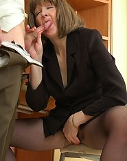 Freaky mom getting her black hose covered with cum after hot sex in office
