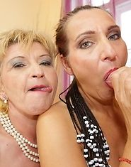 Two hot mature slut sharing one warm creampie