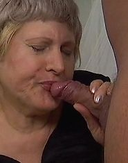 Gray-haired chubby grandma gets a mouthful of cum
