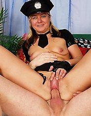 Mature female cop getting her mouth filled with cum
