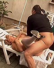 Horny guy fucking fat granny?s brains out outdoors