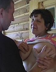 Granny rides dick and takes a load of cum on the tits