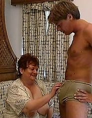 Giant old lady fucked hard by a much younger guy