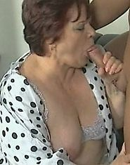 Fat granny in sexy nylons sucking and riding cock