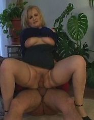 Good-looking blonde granny fucked right on a floor