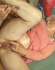 Two vacuum-loving grandmas nailed by young fuckers