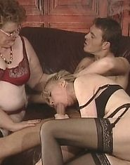 Fat granny and aged blonde share young guy's dick