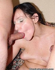 A hot brunette?s mouth is invaded by two throbbing cocks