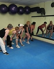 Mature women getting naked during gymclass